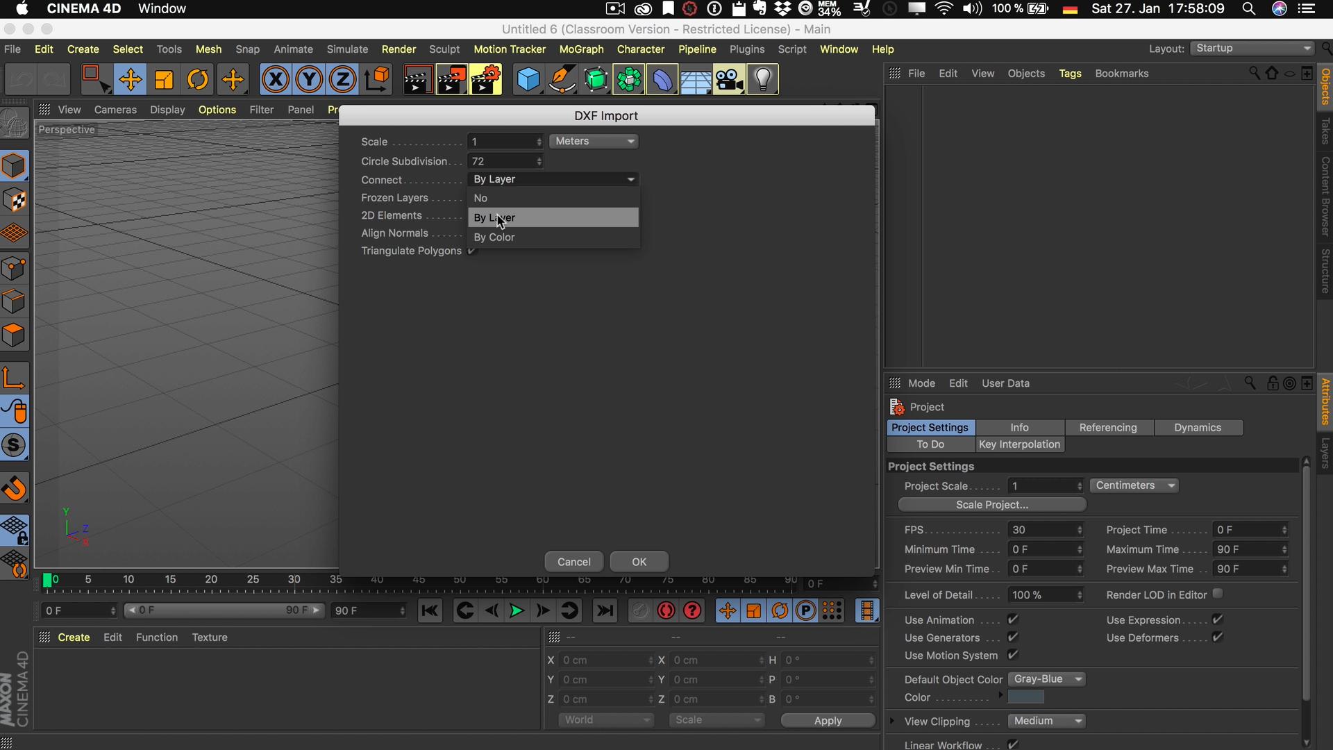 Cinema4D 3D-Stadtmodell Import DXF Struktur