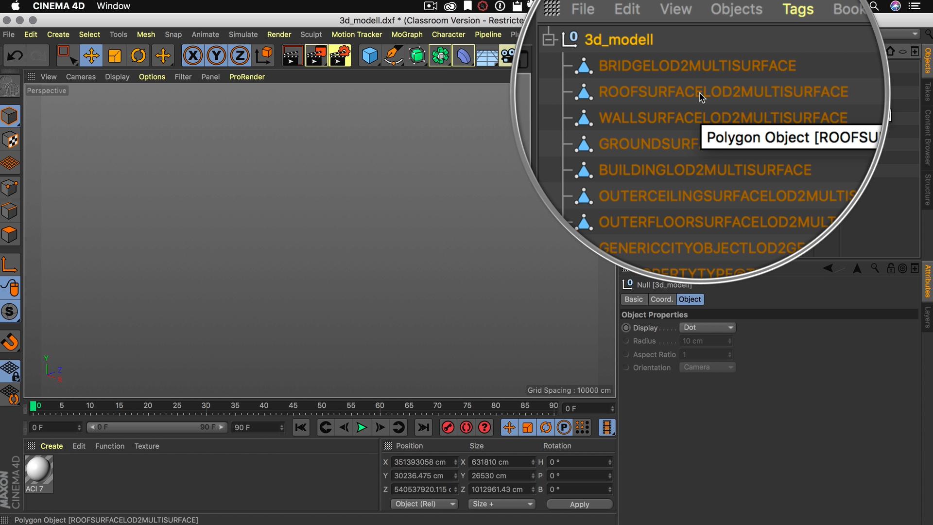 Cinema4D 3D-Stadtmodell Import DXF unsichtbar im Editor