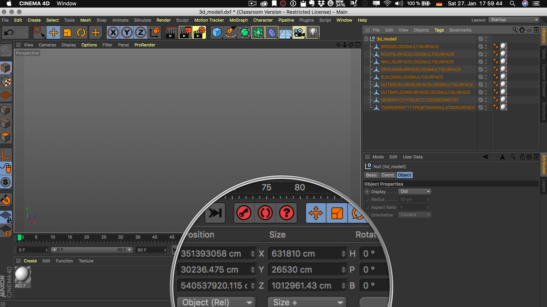 Cinema4D 3D-Stadtmodell DXF Import Maßstab Faktor