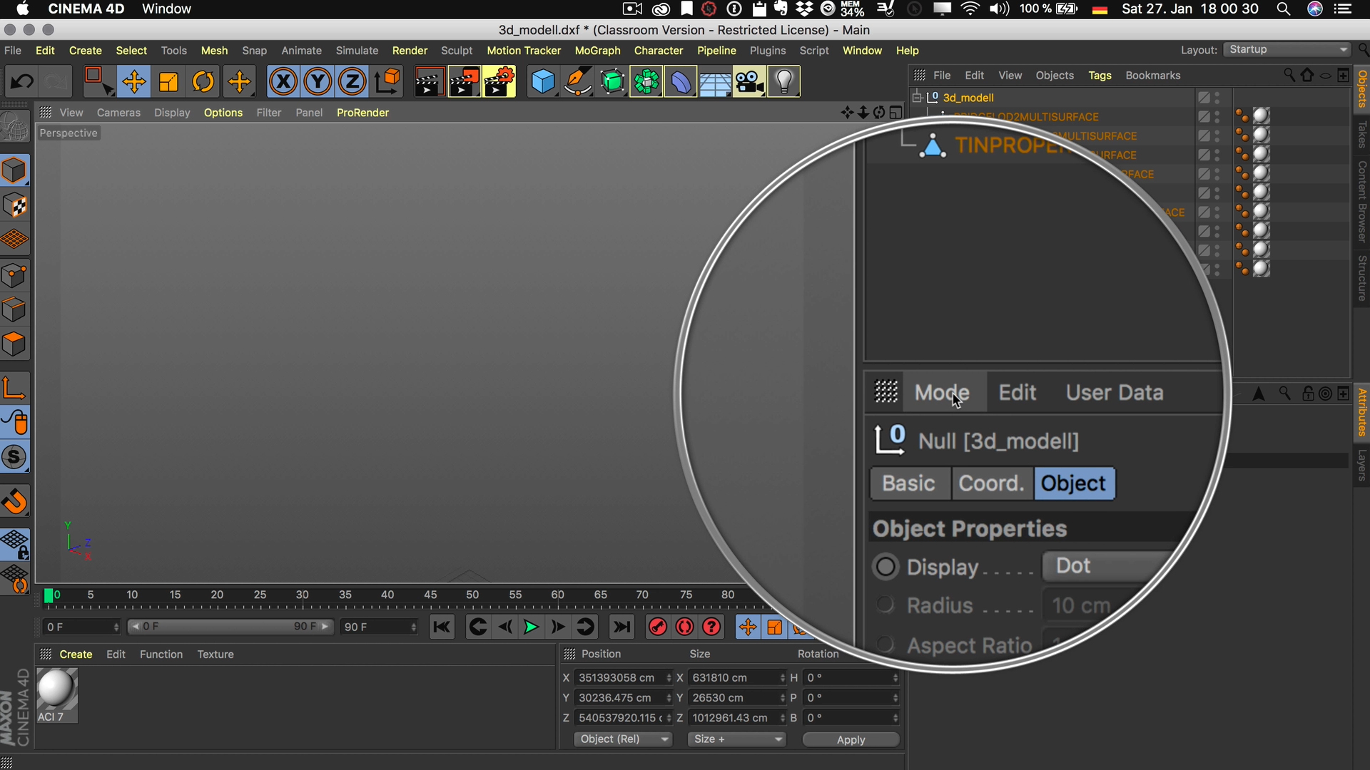 Cinema4D 3D-Stadtmodell Attribut Manager Modus