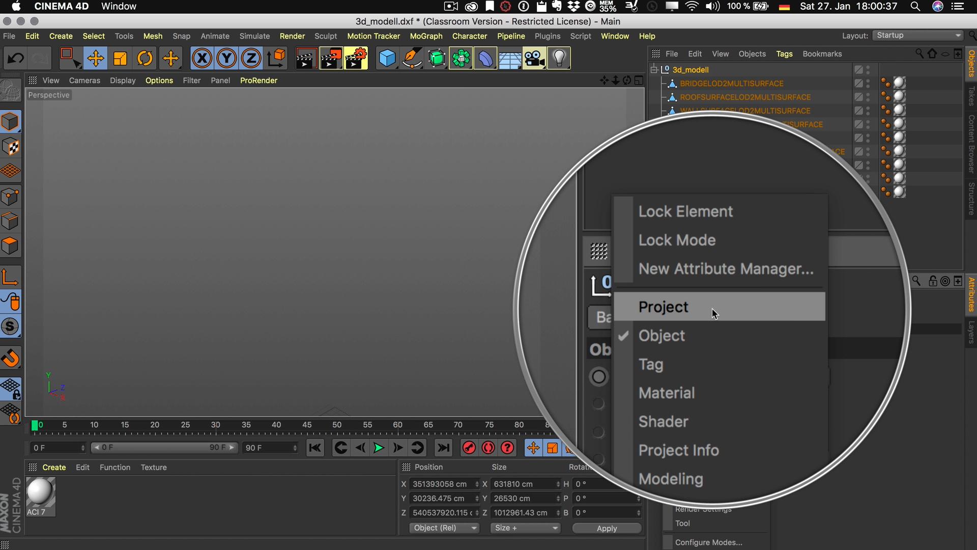 Cinema4D 3D-Stadtmodell Attribute Manager Projekt