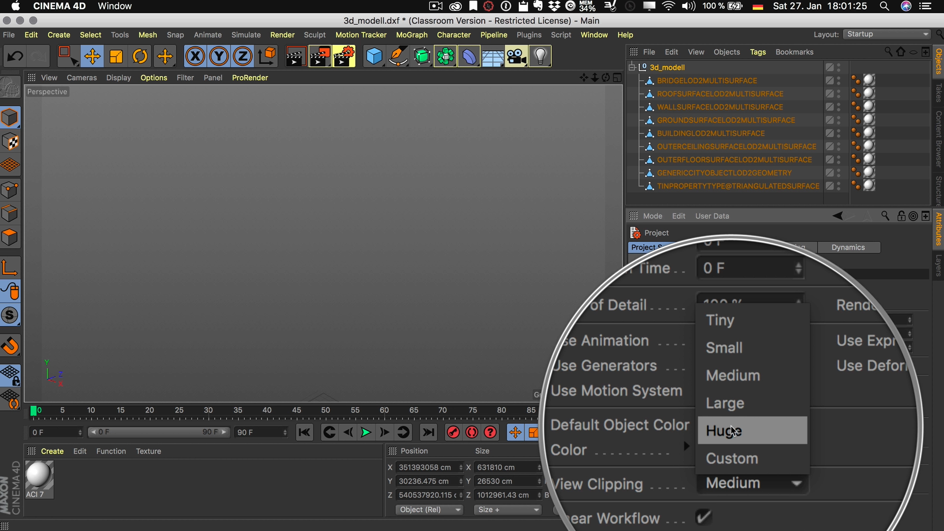 Cinema4D 3D-Stadtmodell Attribute Manager Projekt Sicht-Clipping Sehr groß