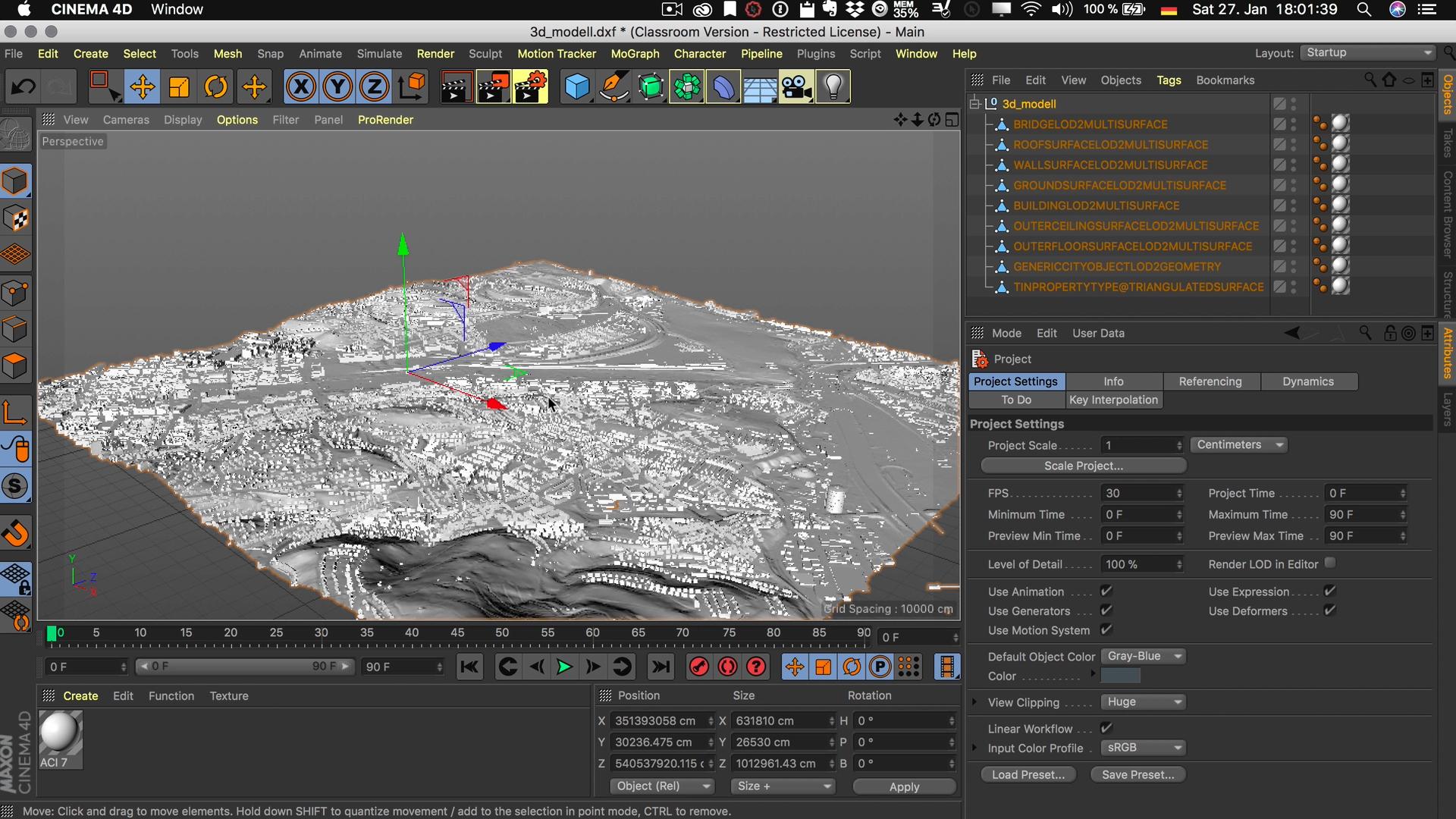 Cinema4D 3D-Stadtmodell Viewport Editor Modell sichtbar