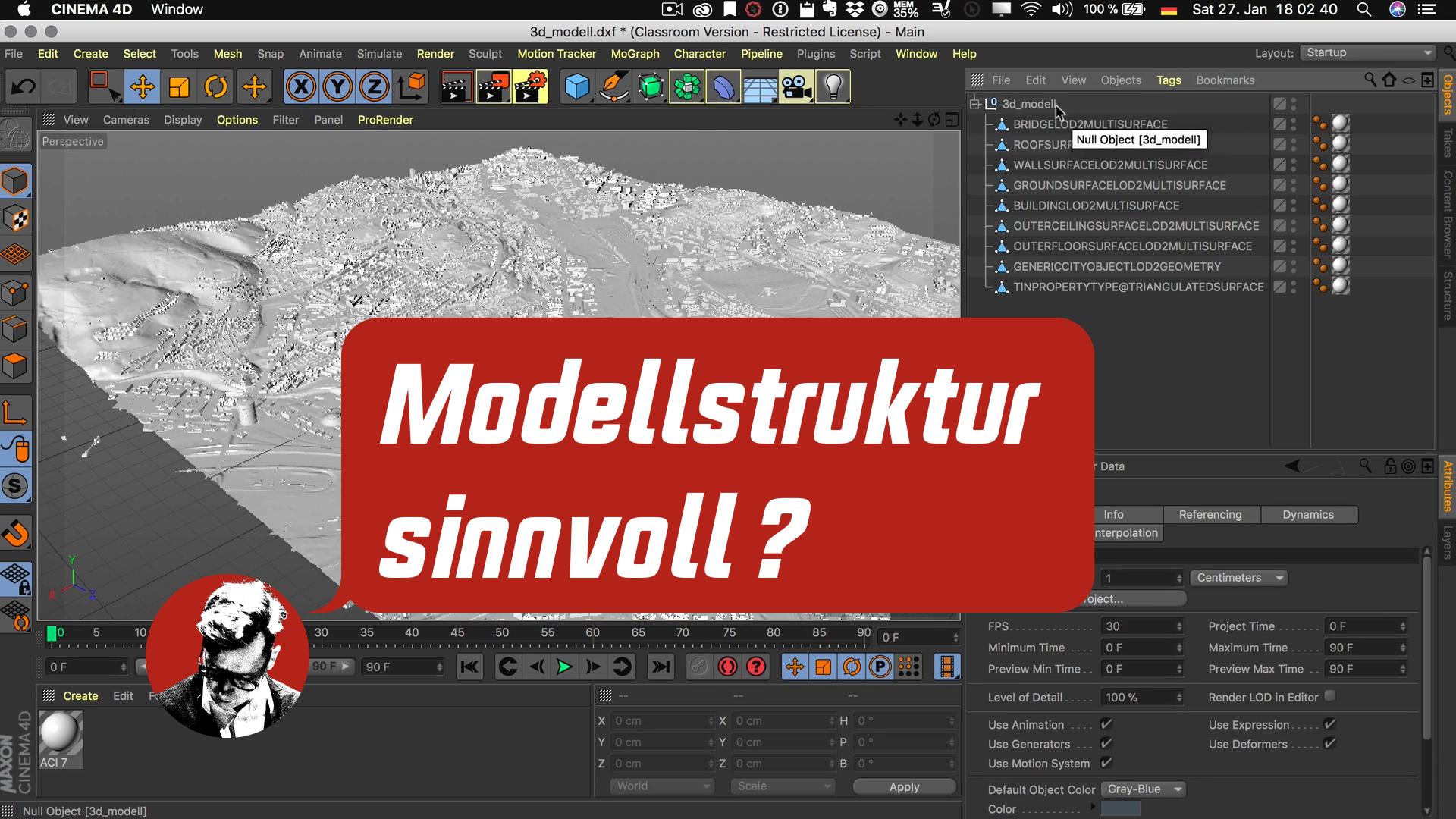 Cinema4D 3D-Stadtmodell Modell Struktur