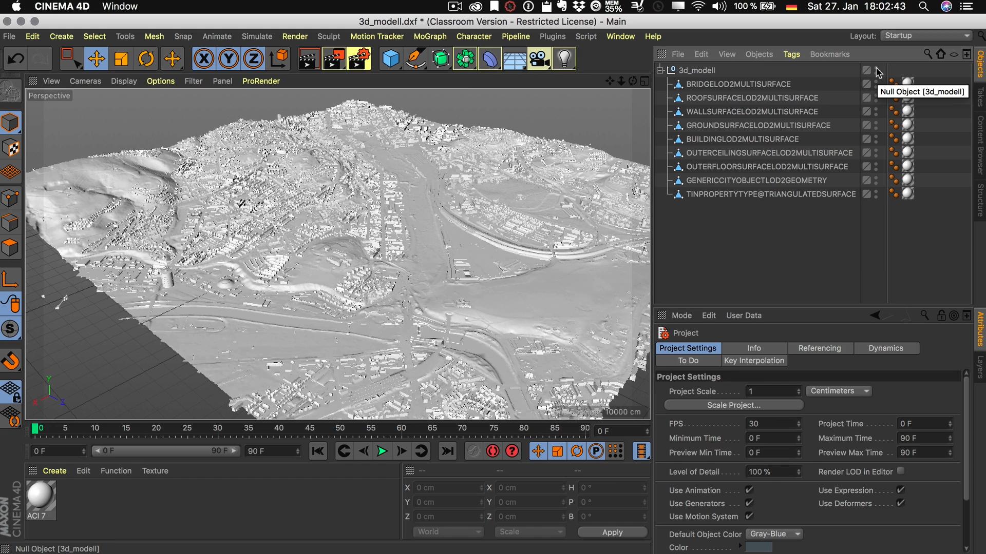Cinema4D 3D-Stadtmodell Modell Editor Viewport sichtbar