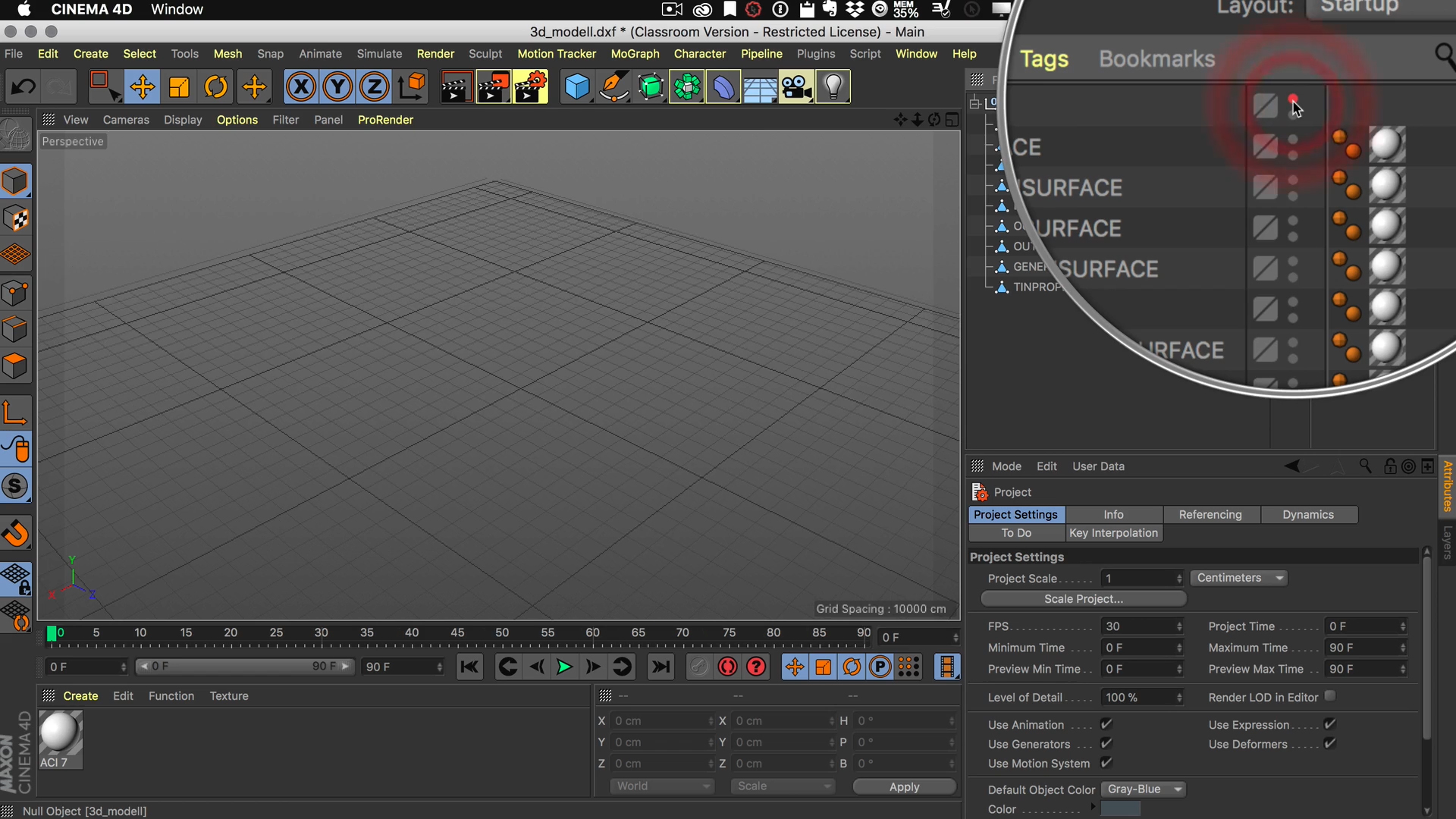 Cinema4D 3D-Stadtmodell Modell Editor Viewport ausgeblendet