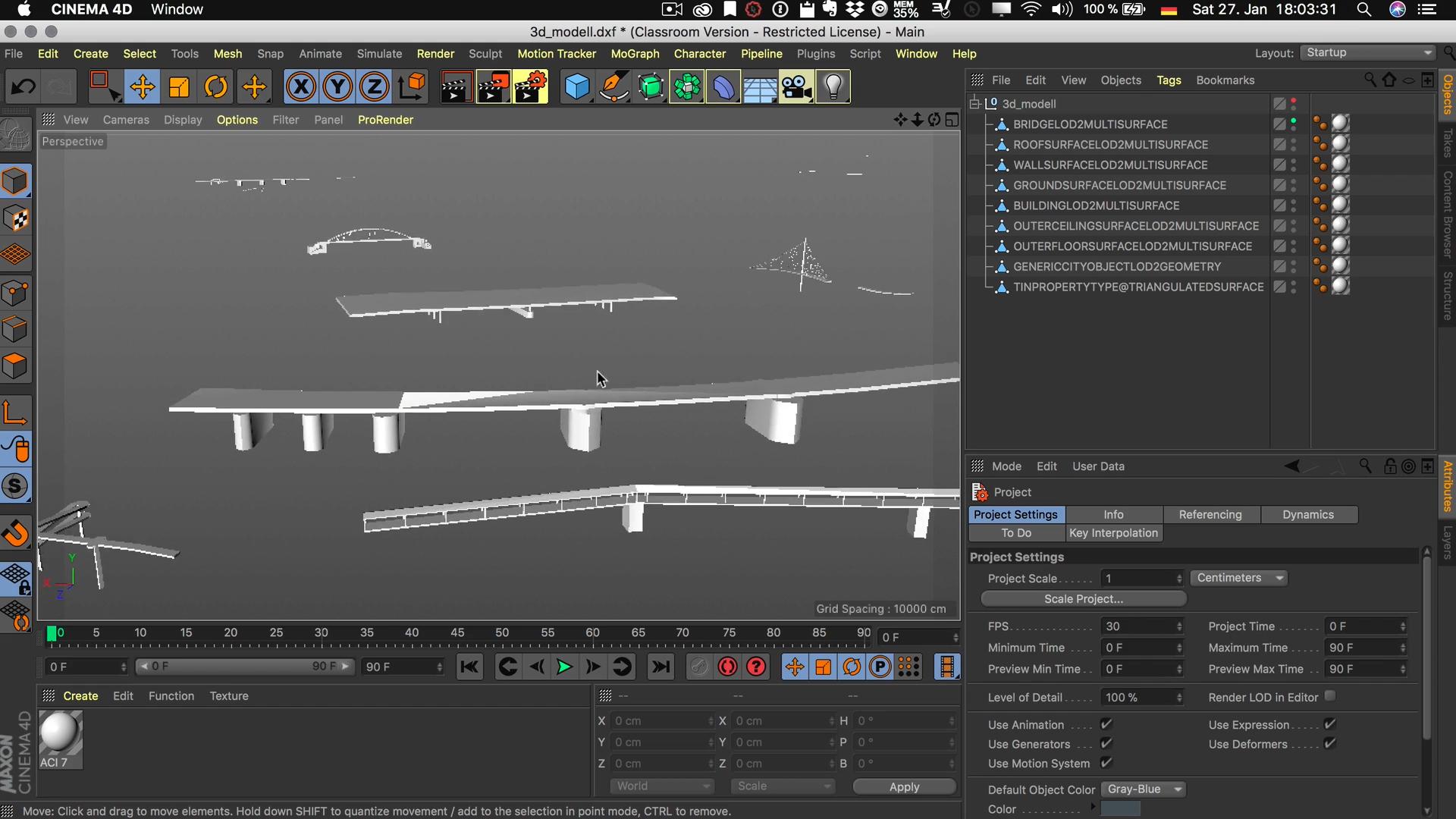Cinema4D 3D-Stadtmodell selektiv sichtbar Unterobjekt Brücken