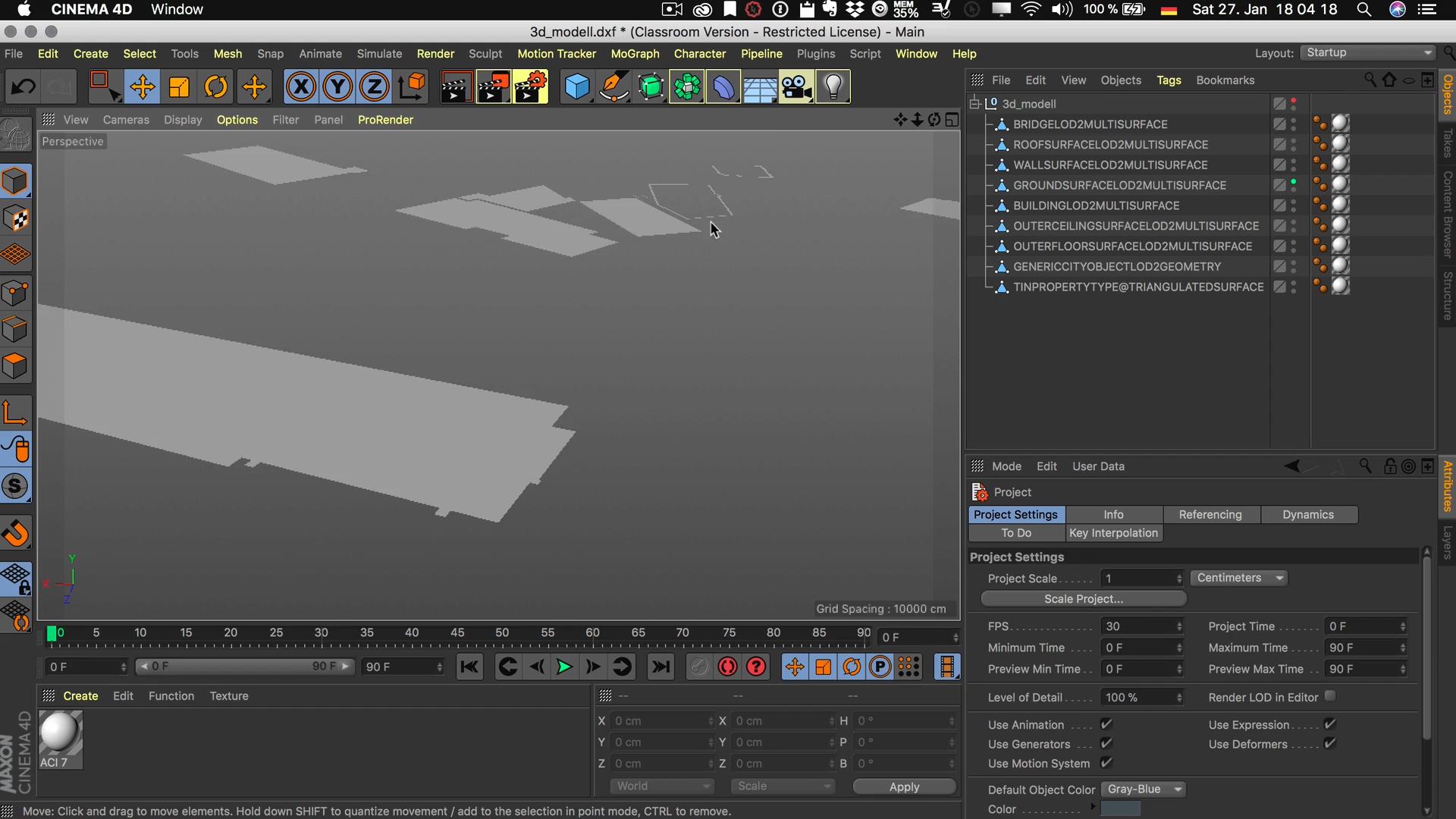 Cinema4D 3D-Stadtmodell Unterobjekt Ebene DXF sinnlos Inhalt