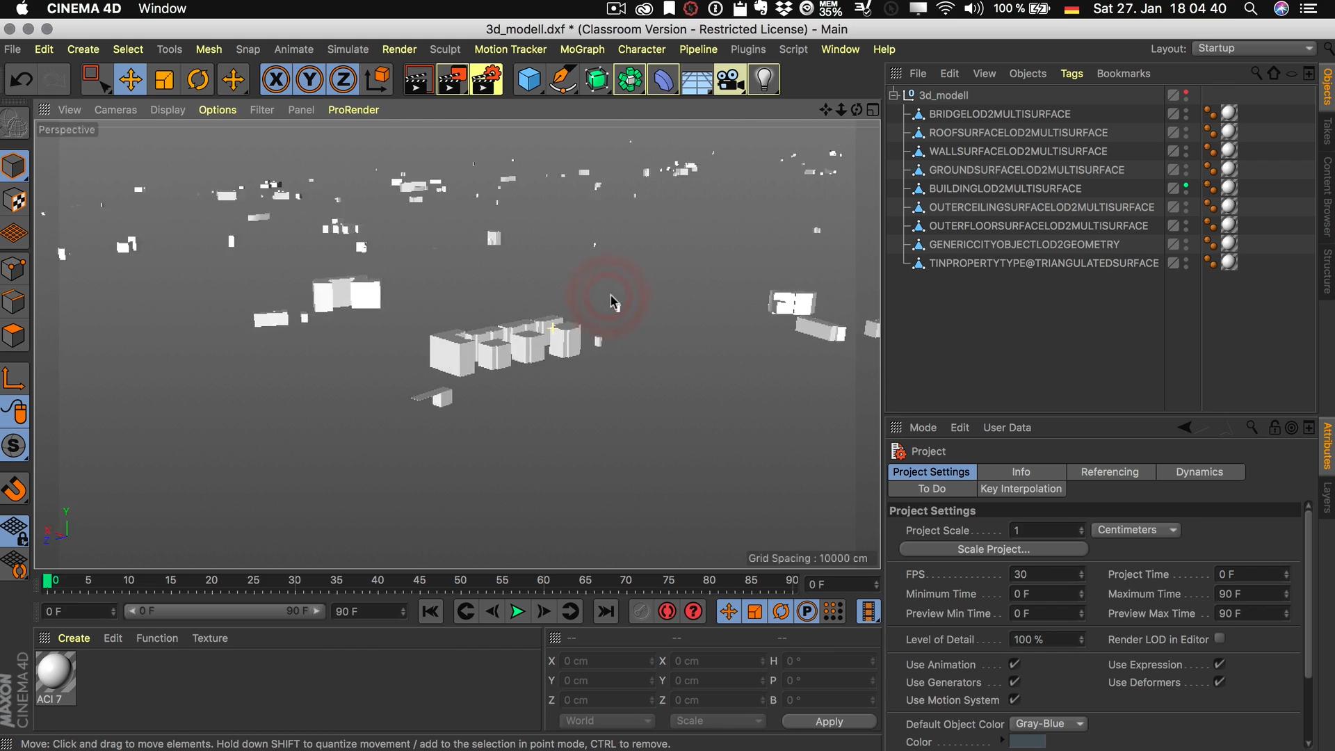 Cinema4D 3D-Stadtmodell Unterobjekt aus DXF Ebene Layer sinnlos