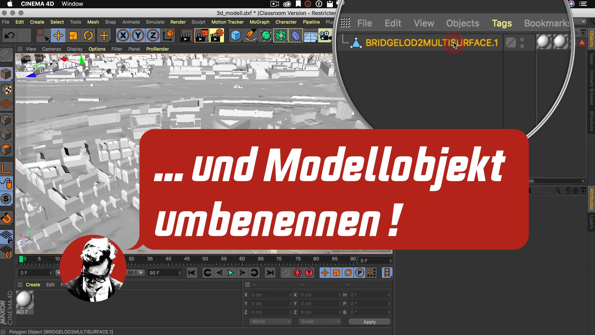 Cinema4D 3D-Stadtmodell Objekt Manager aufräumen umbenennen