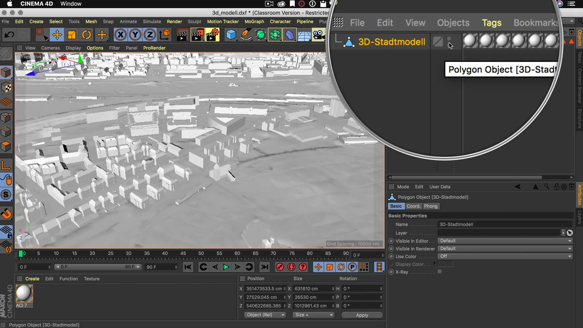 Cinema4D 3D-Stadtmodell Objekt Manager umbenennen 3D Stadtmodell