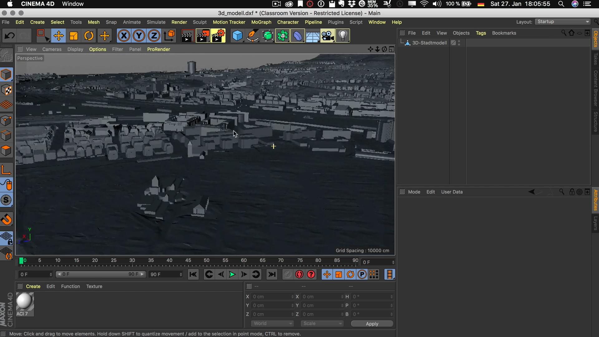 Cinema4D 3D-Stadtmodell Viewport Editor dunkler