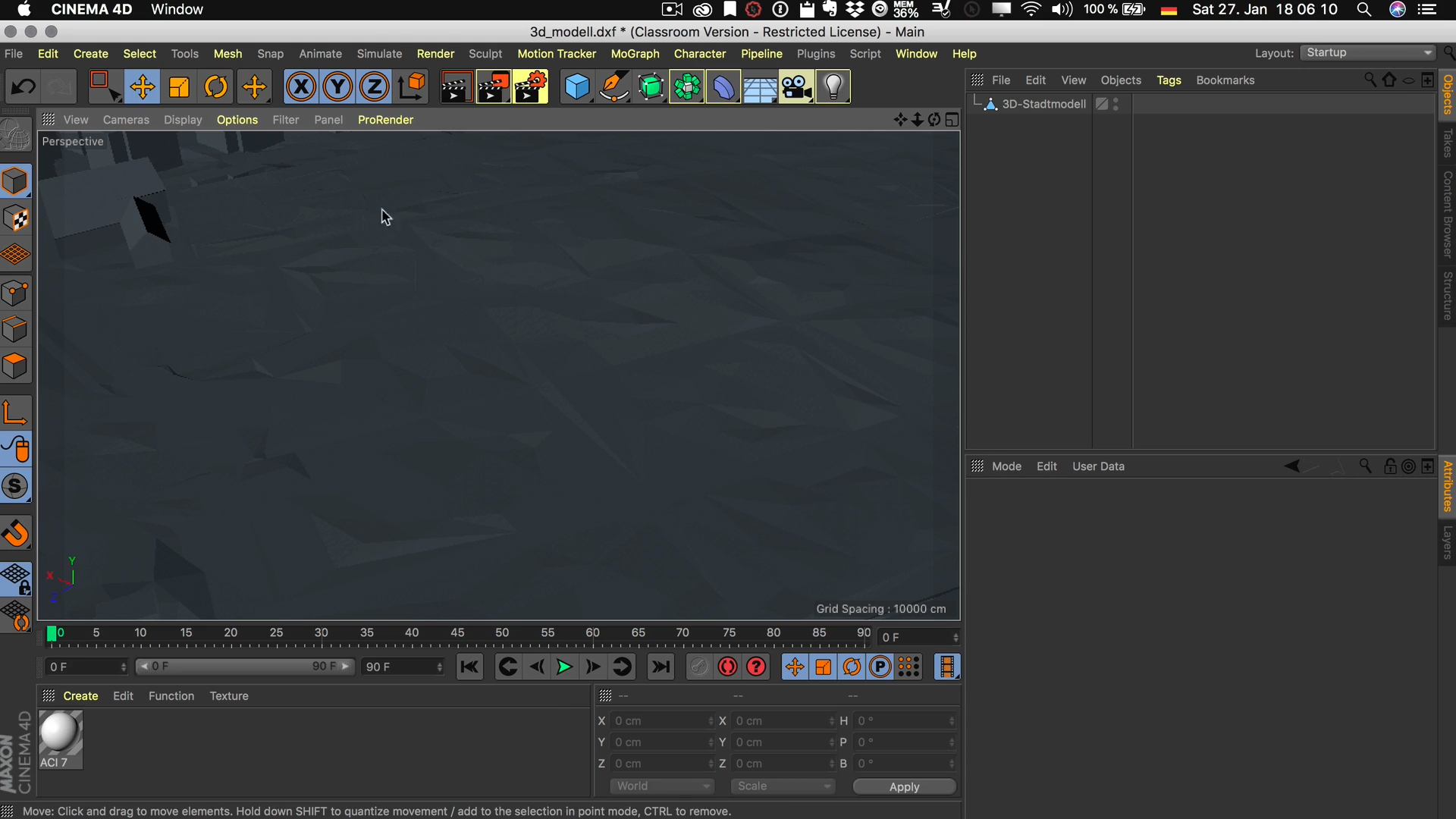 Cinema4D 3D-Stadtmodell Polygon Struktur ohne Phong Tag