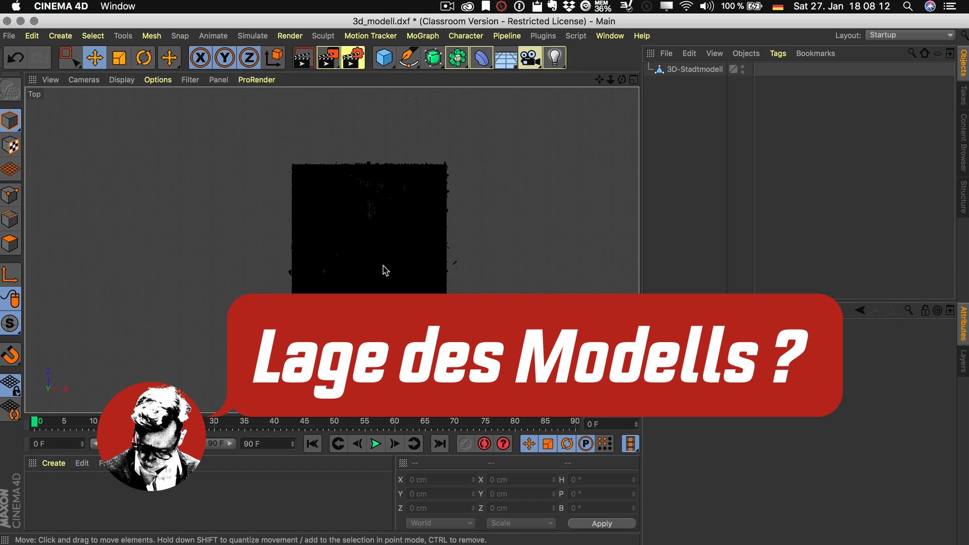 Cinema4D 3D-Stadtmodell Modell Position Koordinaten Szene