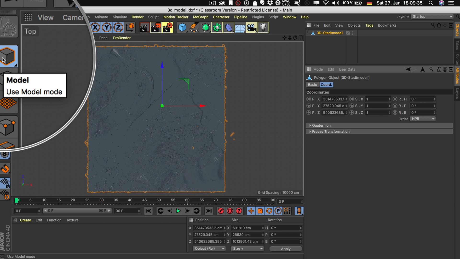 Cinema4D 3D-Stadtmodell Modell Position Auswahl Koordinaten Model Mode Modus Modell bearbeiten