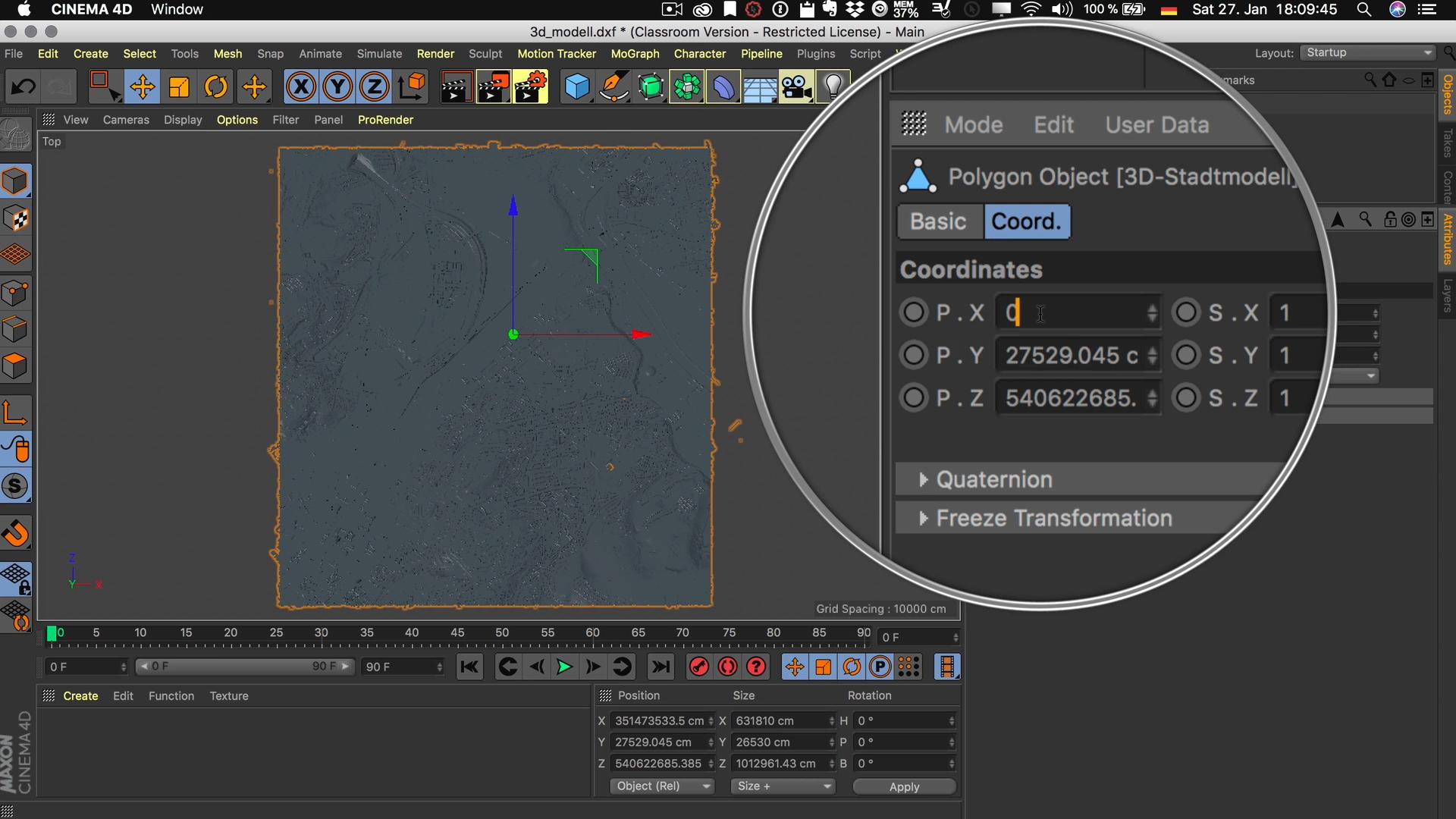 Cinema4D 3D-Stadtmodell Position Modell Koordinaten P.X 0