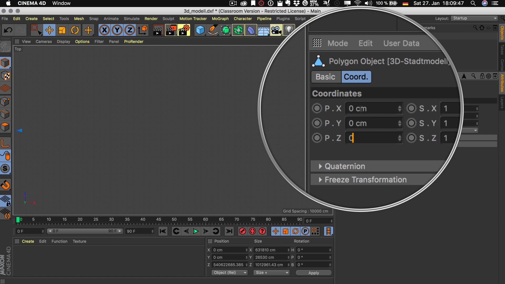 Cinema4D 3D-Stadtmodell Position Modell Nullpunkt Koordinaten P.X P.Y P.Z 0
