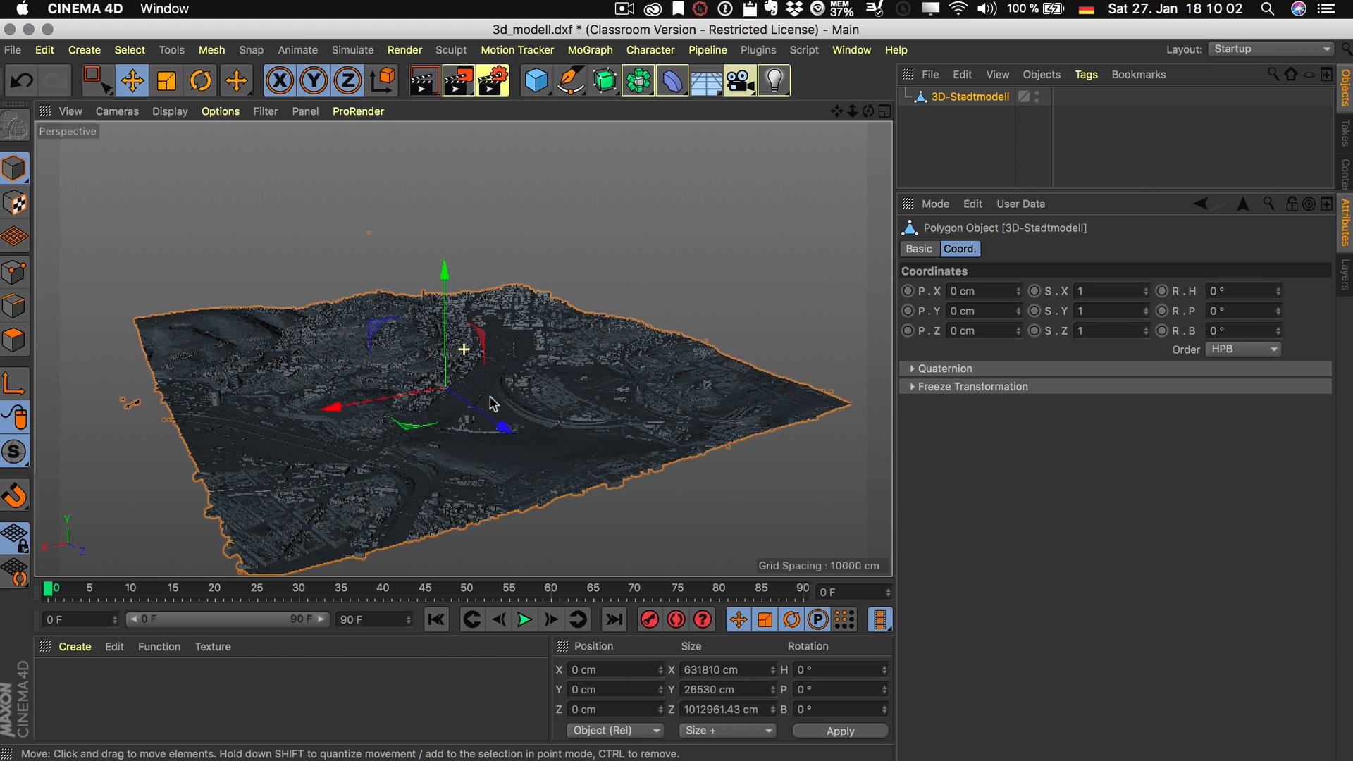 Cinema4D 3D-Stadtmodell Modell Position Nullpunkt