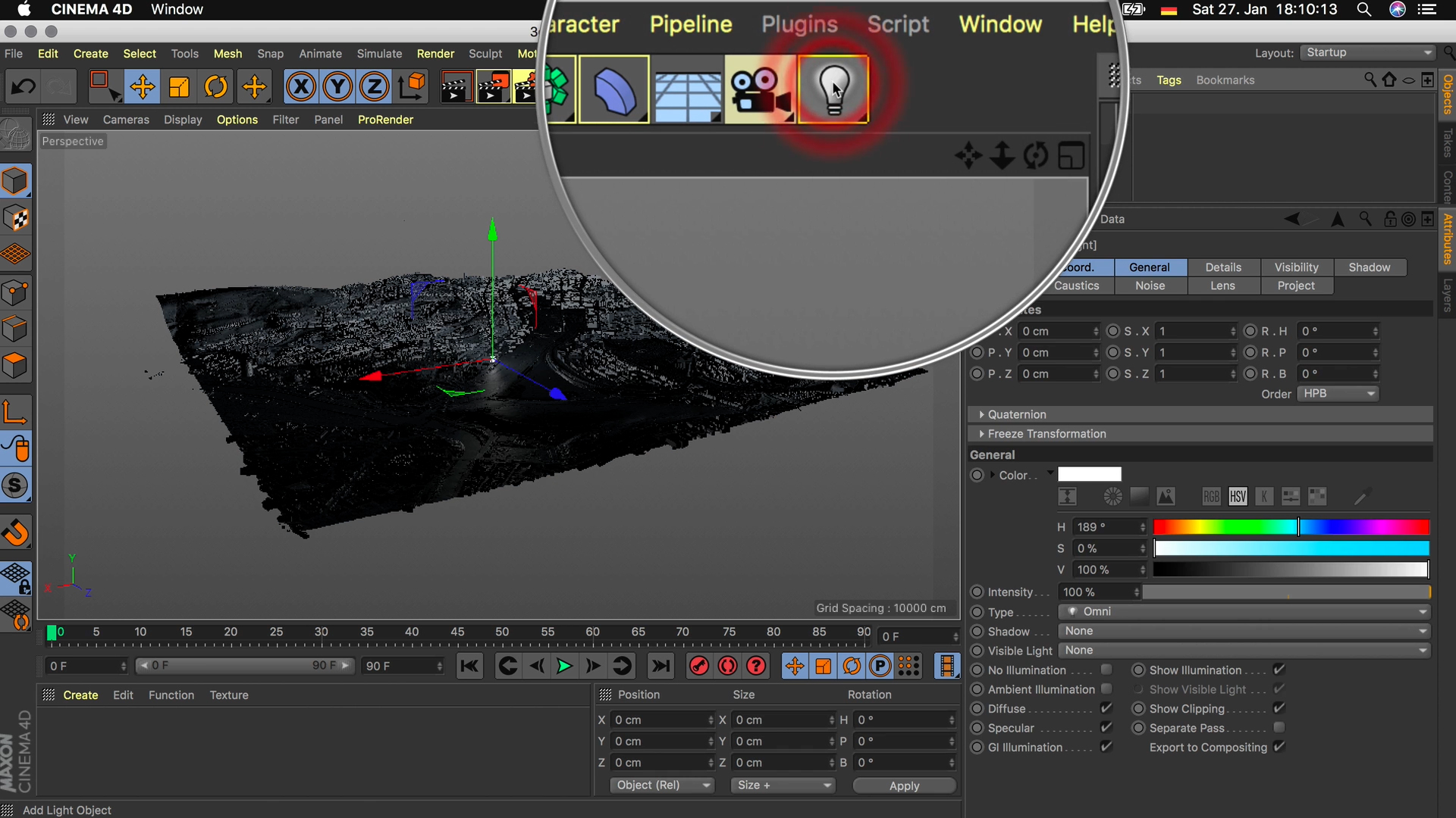 Cinema4D 3D-Stadtmodell Lichtquelle Light platzieren