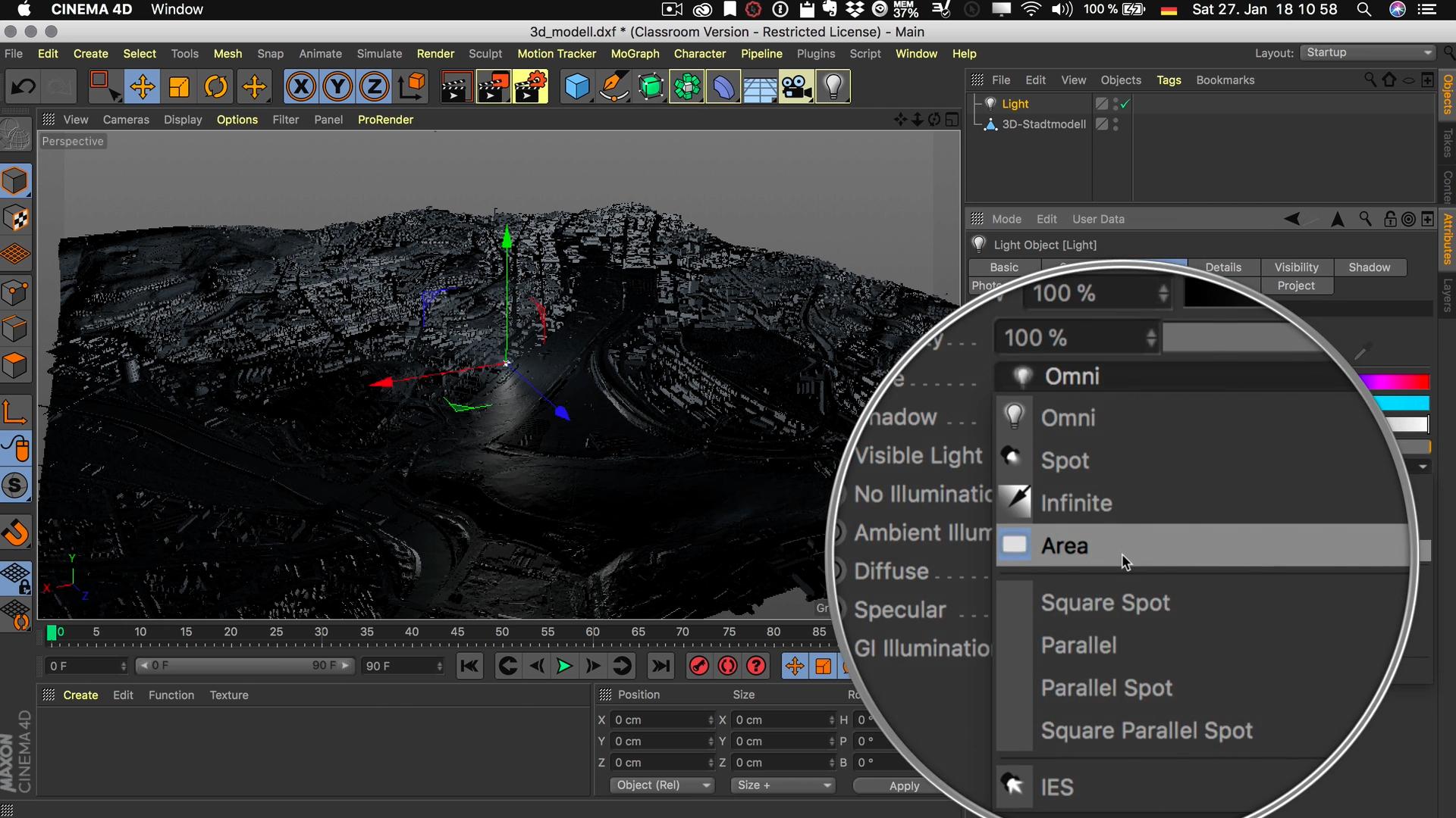 Cinema4D 3D-Stadtmodell Lichtquelle Typ Fläche Flächenlicht Area