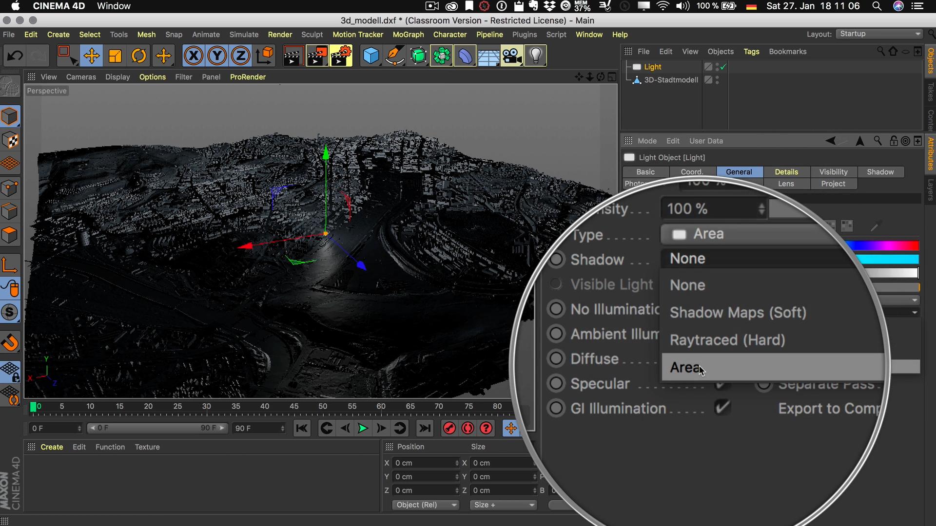Cinema4D 3D-Stadtmodell Schatten Lichtquelle Area Fläche Flächenschatten