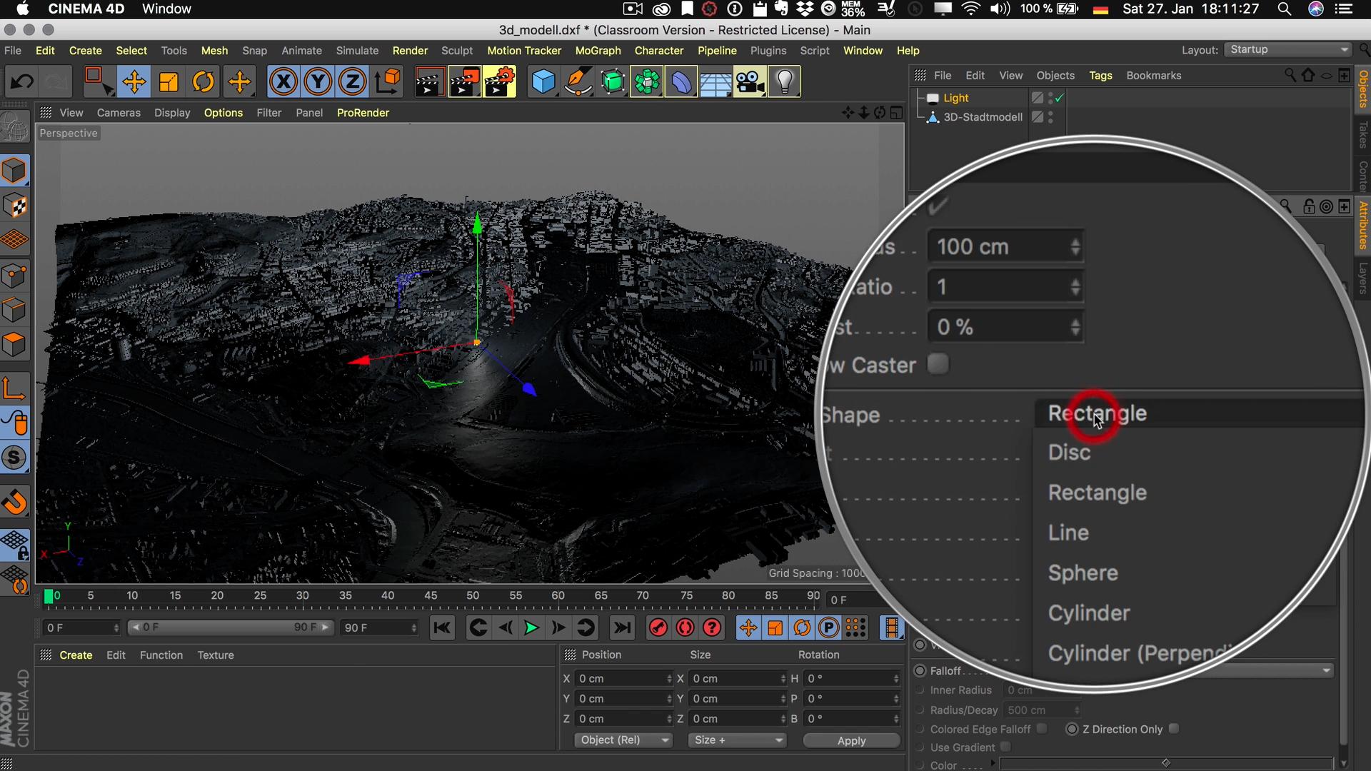 Cinema4D 3D-Stadtmodell Lichtquelle Details Flächenform Rechteck