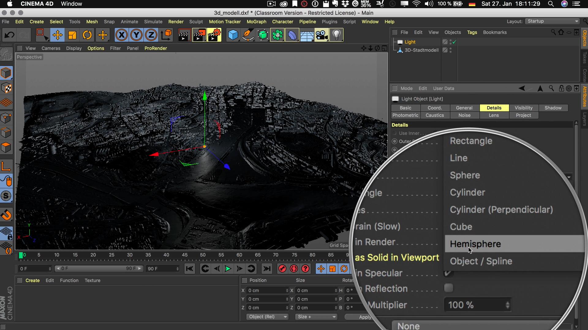 Cinema4D 3D-Stadtmodell Lichtquelle Flächenlicht Flächenform Halbkugel