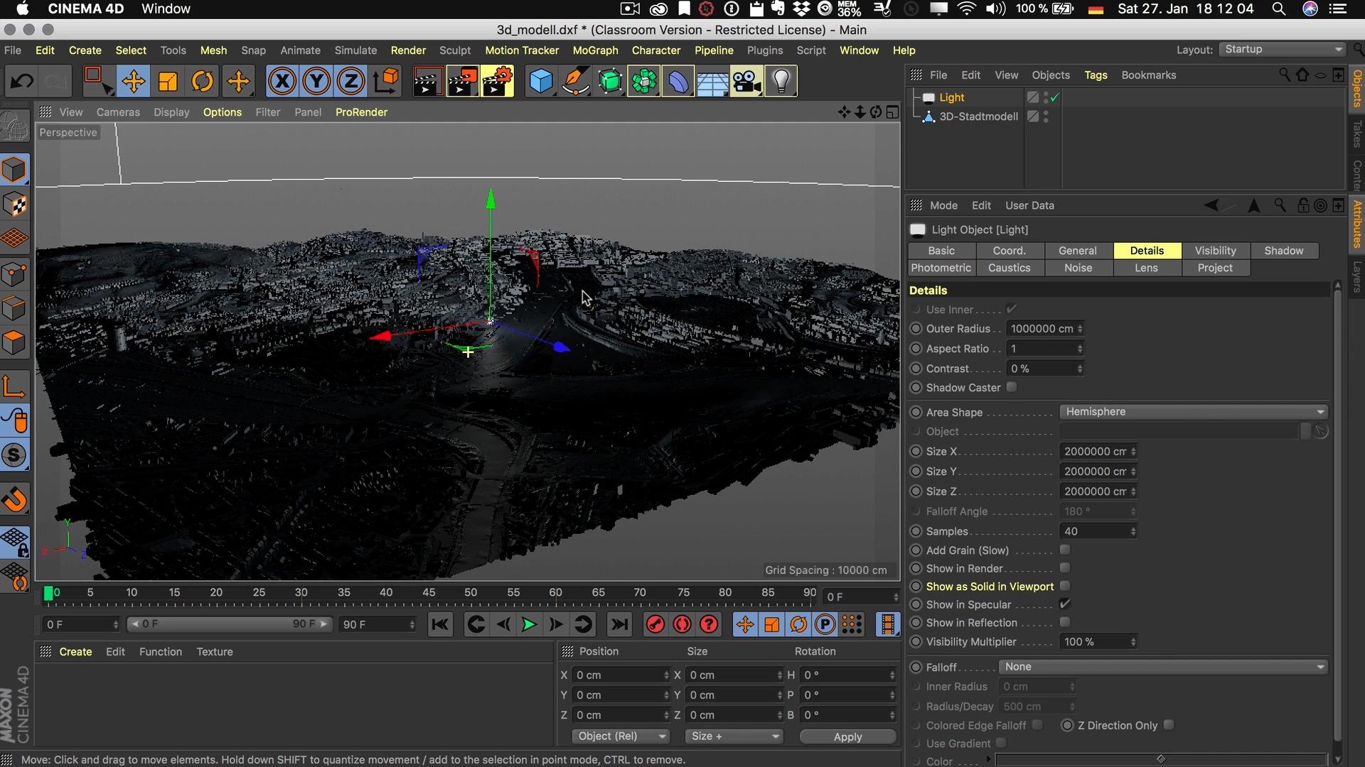 Cinema4D 3D-Stadtmodell Flächenlicht Halbkugel Radius Größe
