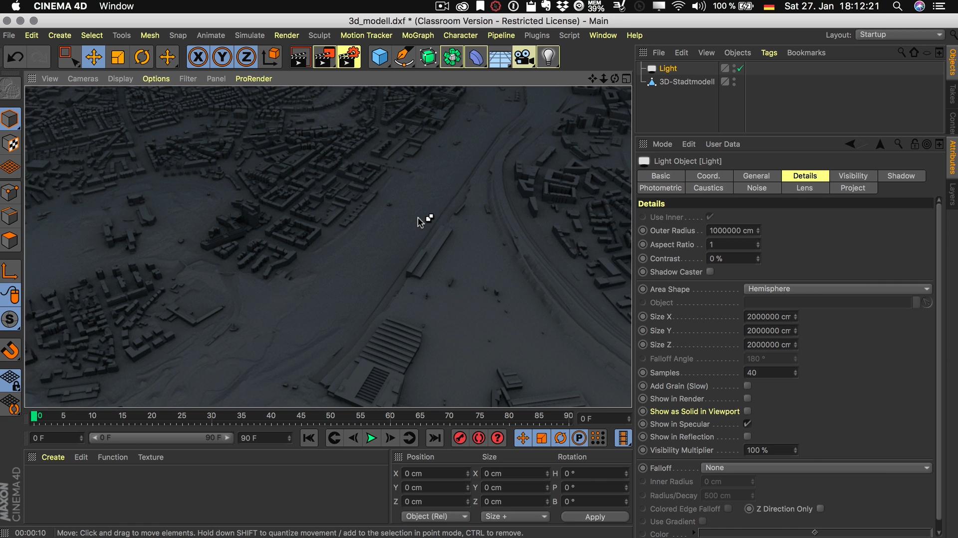 Cinema4D 3D-Stadtmodell Lichtquelle Flächenlicht Flächenschatten Halbkugel