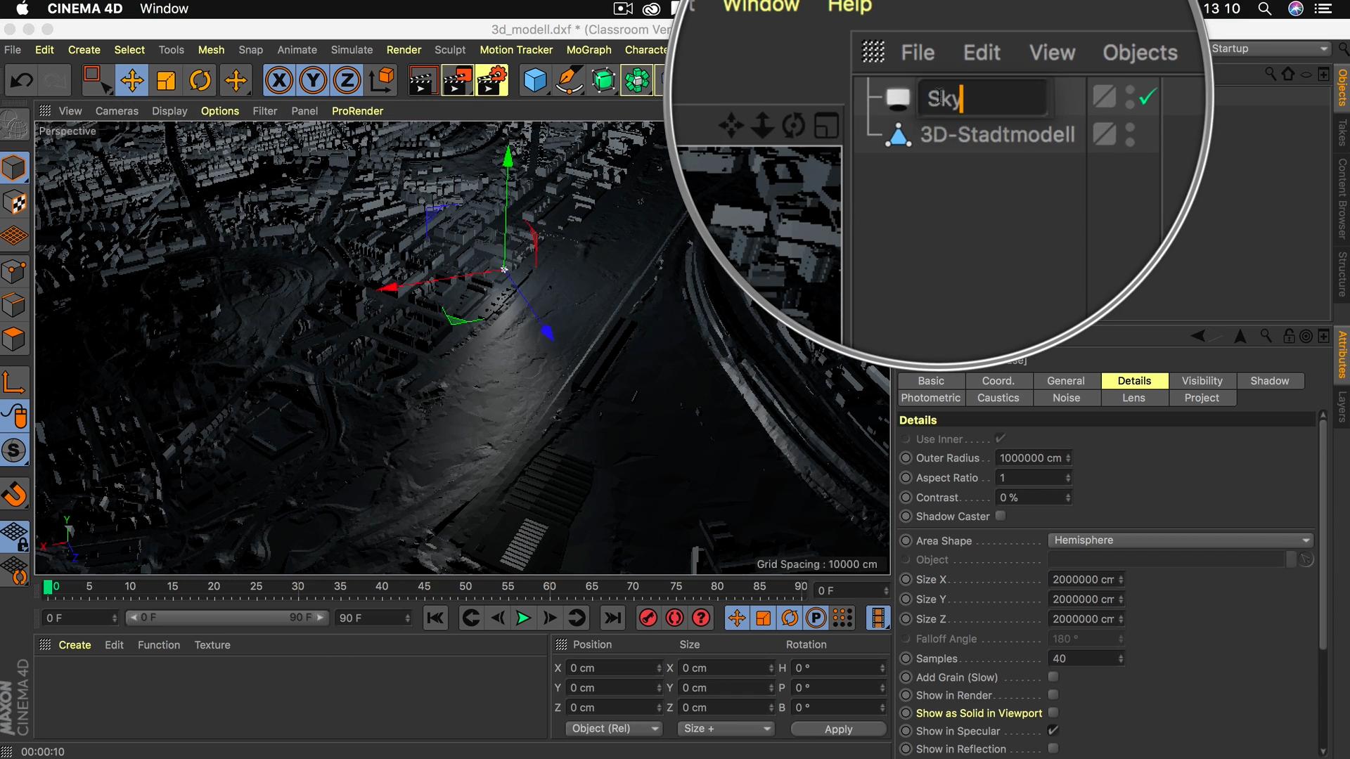 Cinema4D 3D-Stadtmodell Lichtquelle Name Objekt Manager umbenennen