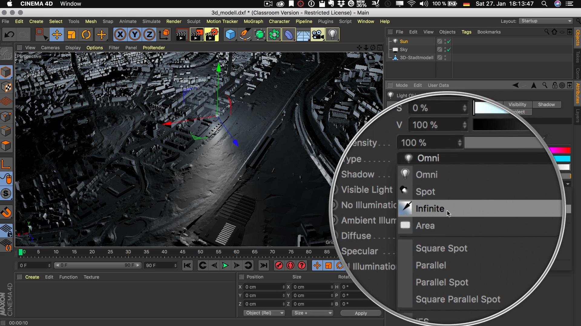 Cinema4D 3D-Stadtmodell Lichtquelle Typ Unendlich Infinite