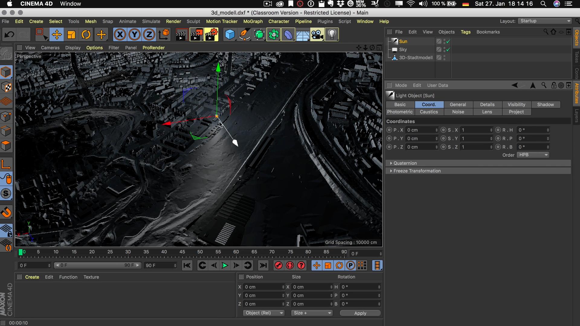 Cinema4D 3D-Stadtmodell Lichquelle Unendlich z Achse Licht Richtung
