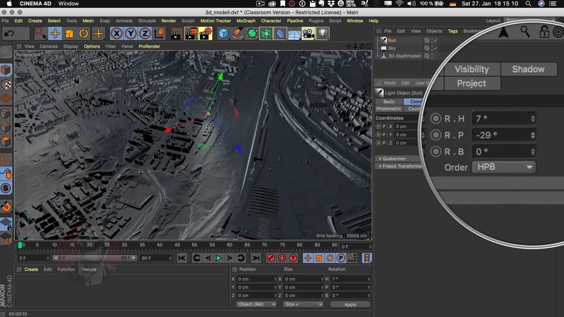 Cinema4D 3D-Stadtmodell Lichtquelle Unendlich Winkel Koordinaten Lichtrichtung