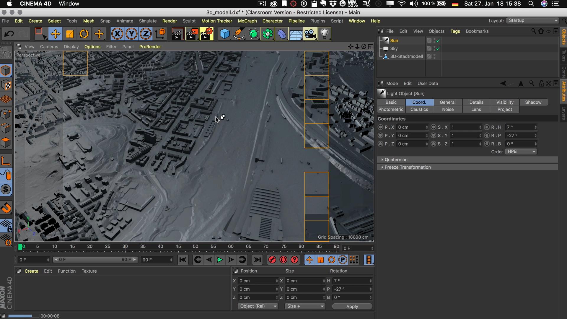 Cinema4D 3D-Stadtmodell Lichtquellen Diffus Sonne Fläche Unendlich Rendering