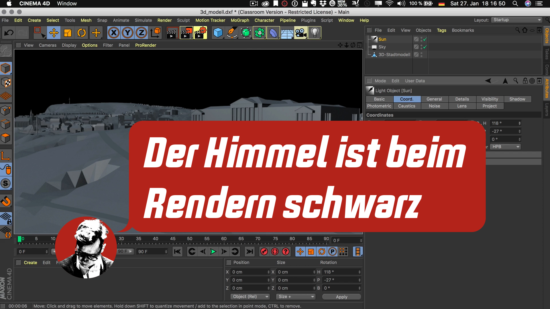 Cinema4D 3D-Stadtmodell Lichtquellen Flächenlicht Hintergrund schwarz