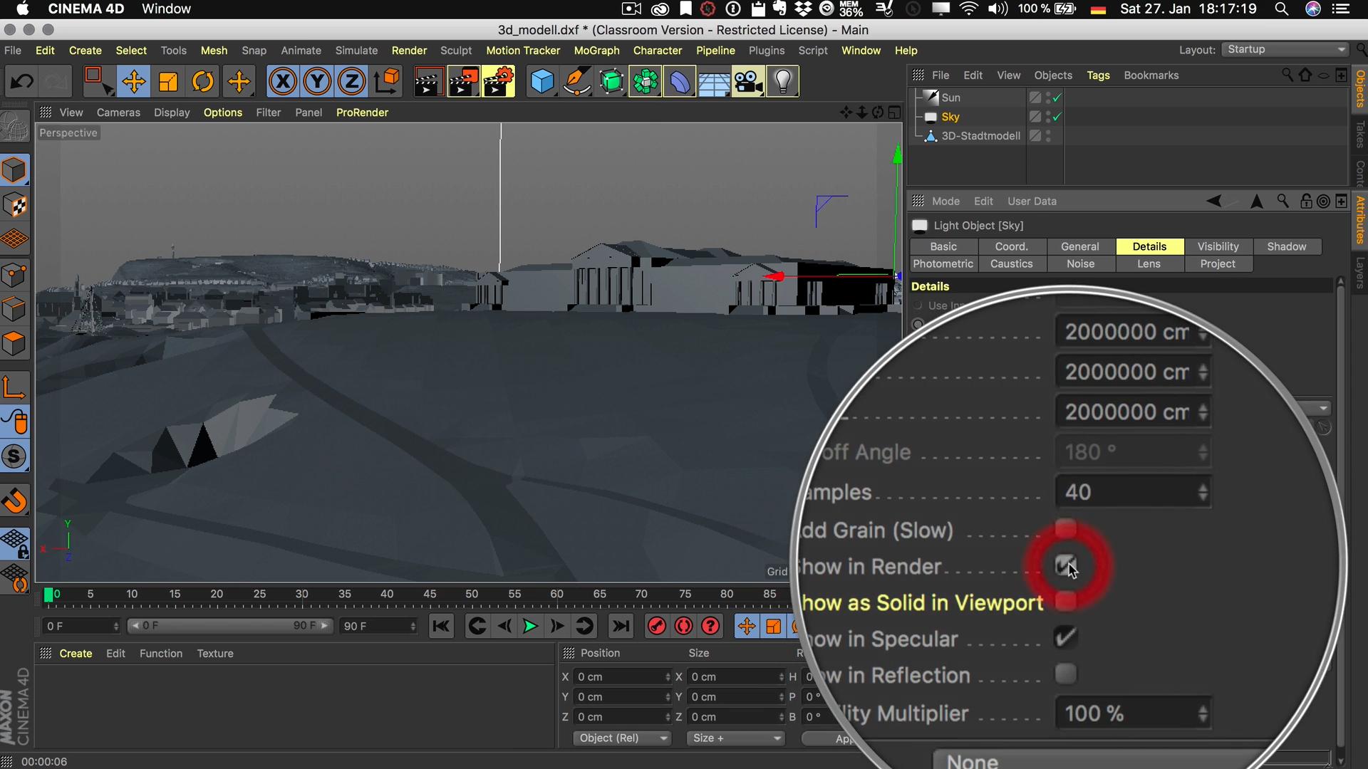 Cinema4D 3D-Stadtmodell Flächenlicht Im Rendering anzeigen Details Show in Render