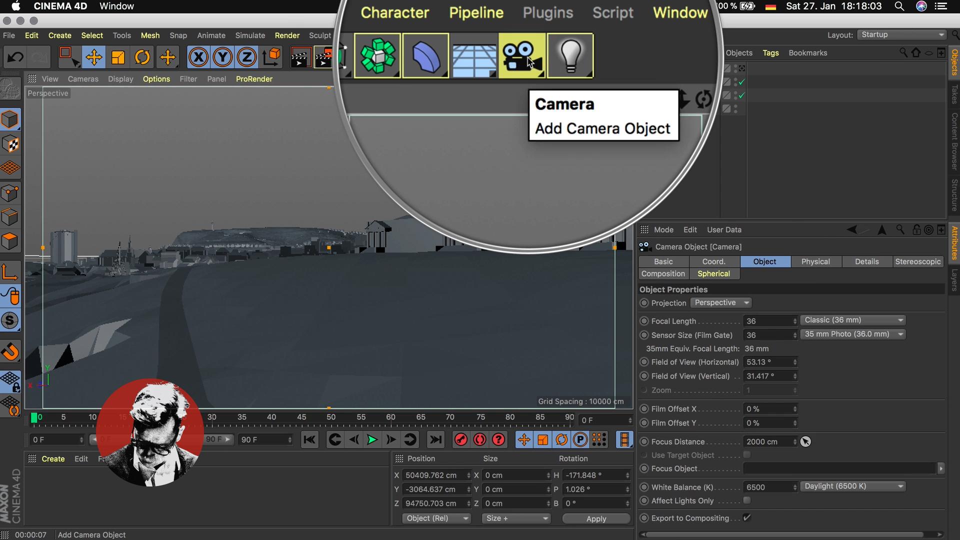 Cinema4D 3D-Stadtmodell Kamera platzieren Werkzeug Navigation Viewport Editor