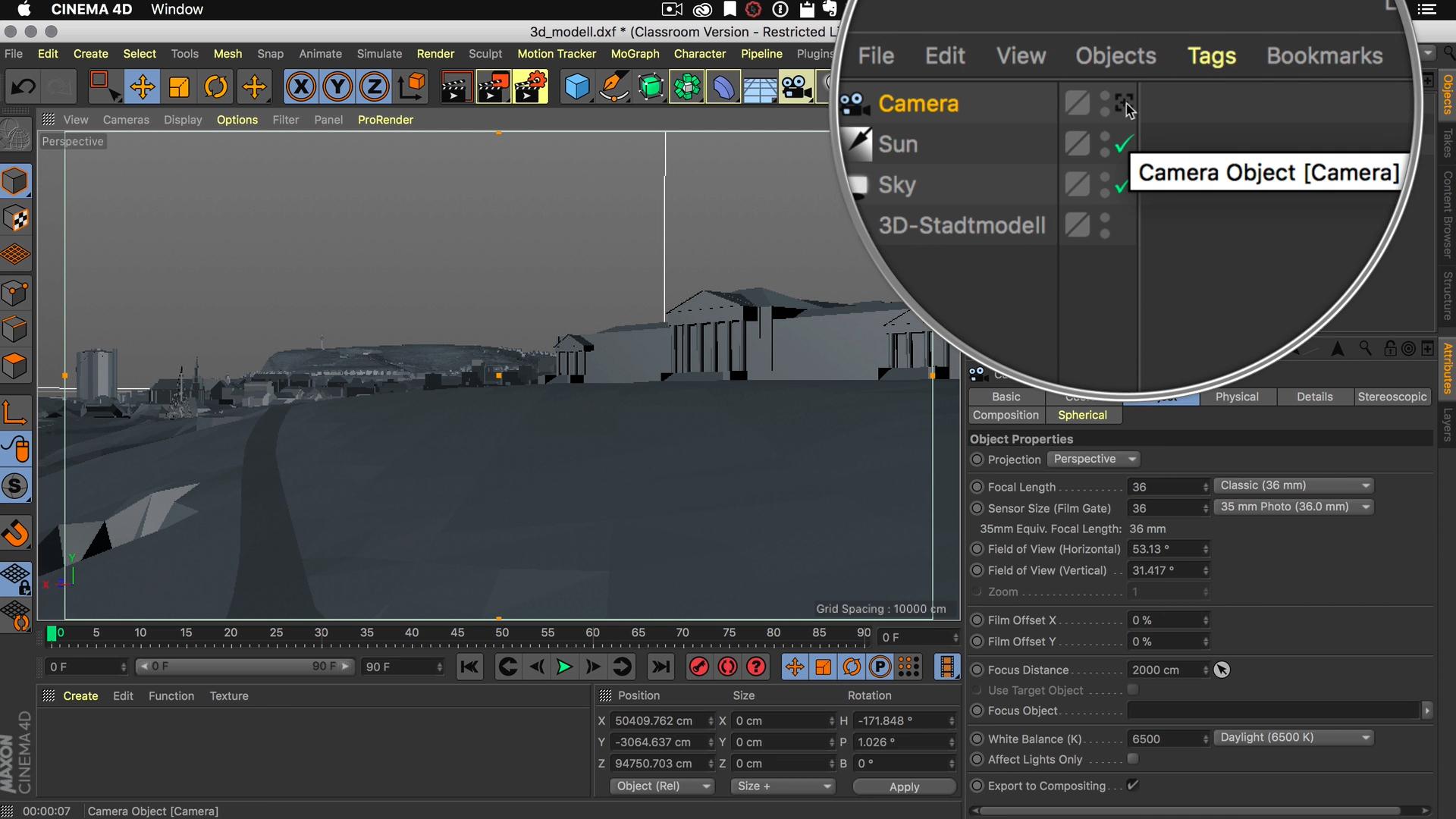 Cinema4D 3D-Stadtmodell Kamera aktiv deaktivieren Objekt Manager
