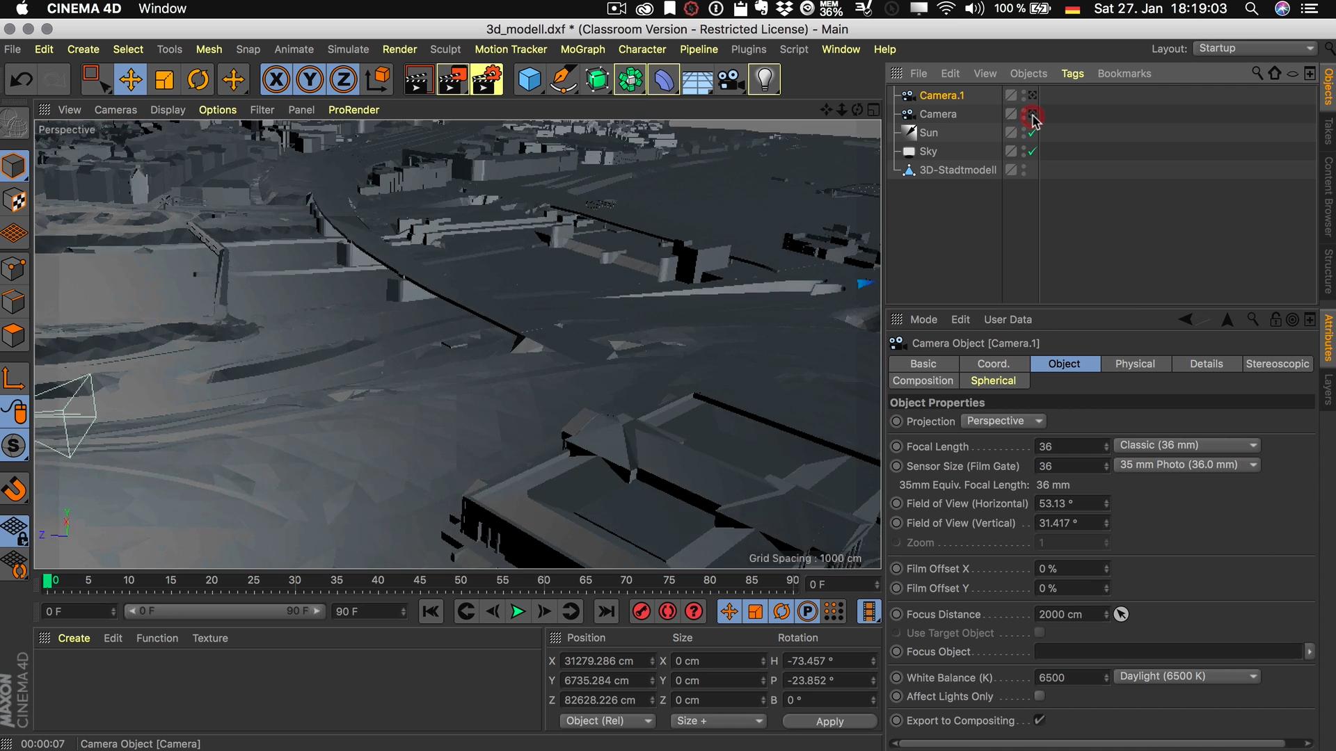 Cinema4D 3D-Stadtmodell Kamera platzieren