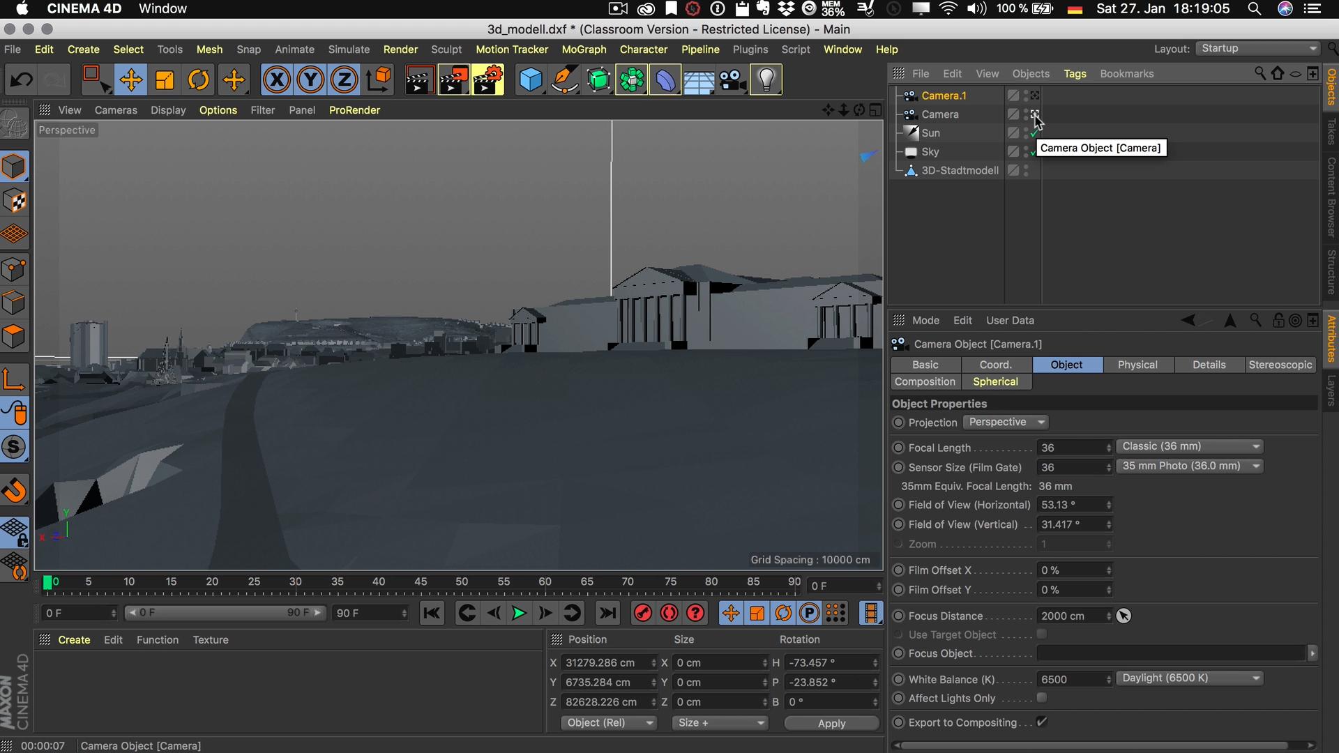 Cinema4D 3D-Stadtmodell Kameras umschalten