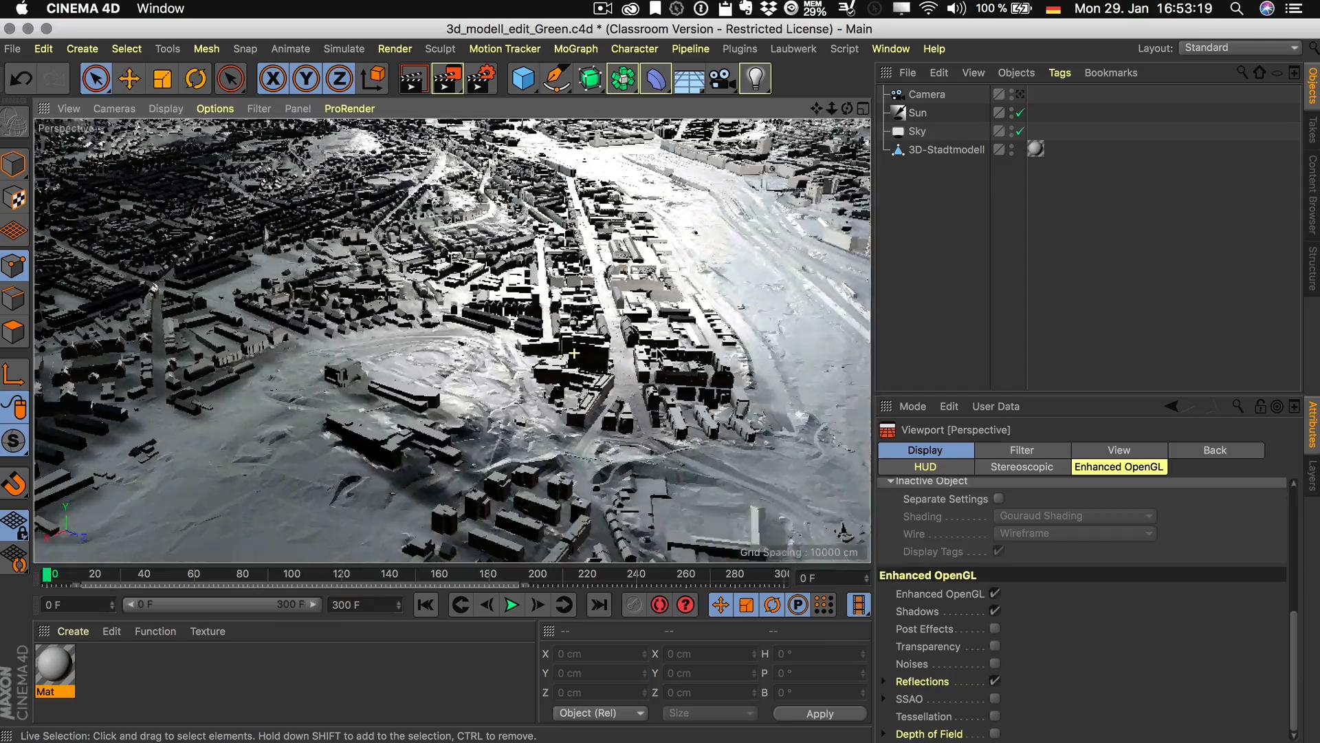 Cinema4D 3D-Stadtmodell Visualisierung Spezialisierung großes Modell leichtes Handling keine Intelligenz