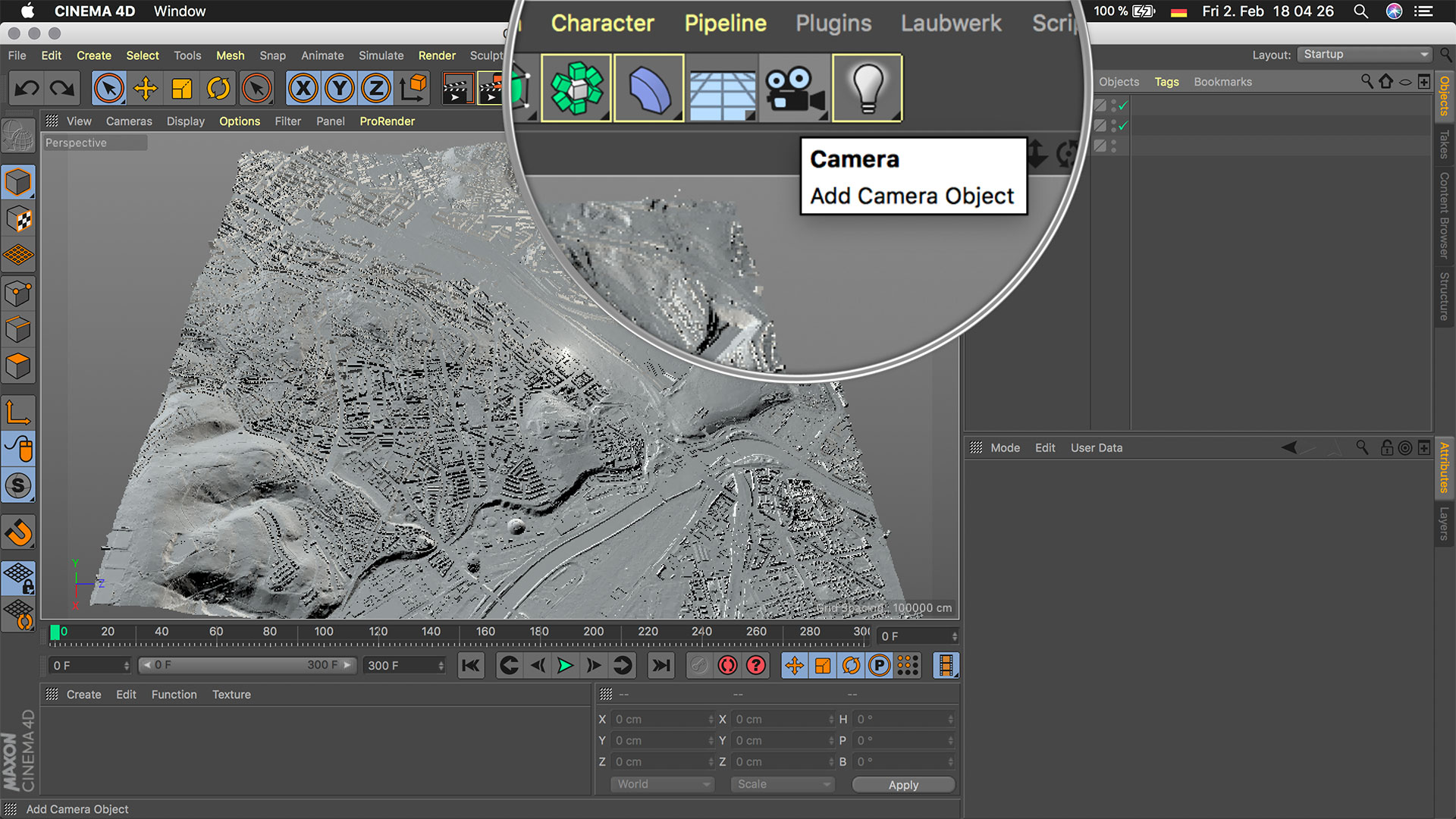 Cinema4D 3D-Stadtmodell Kamera Tool Camera Button Icon