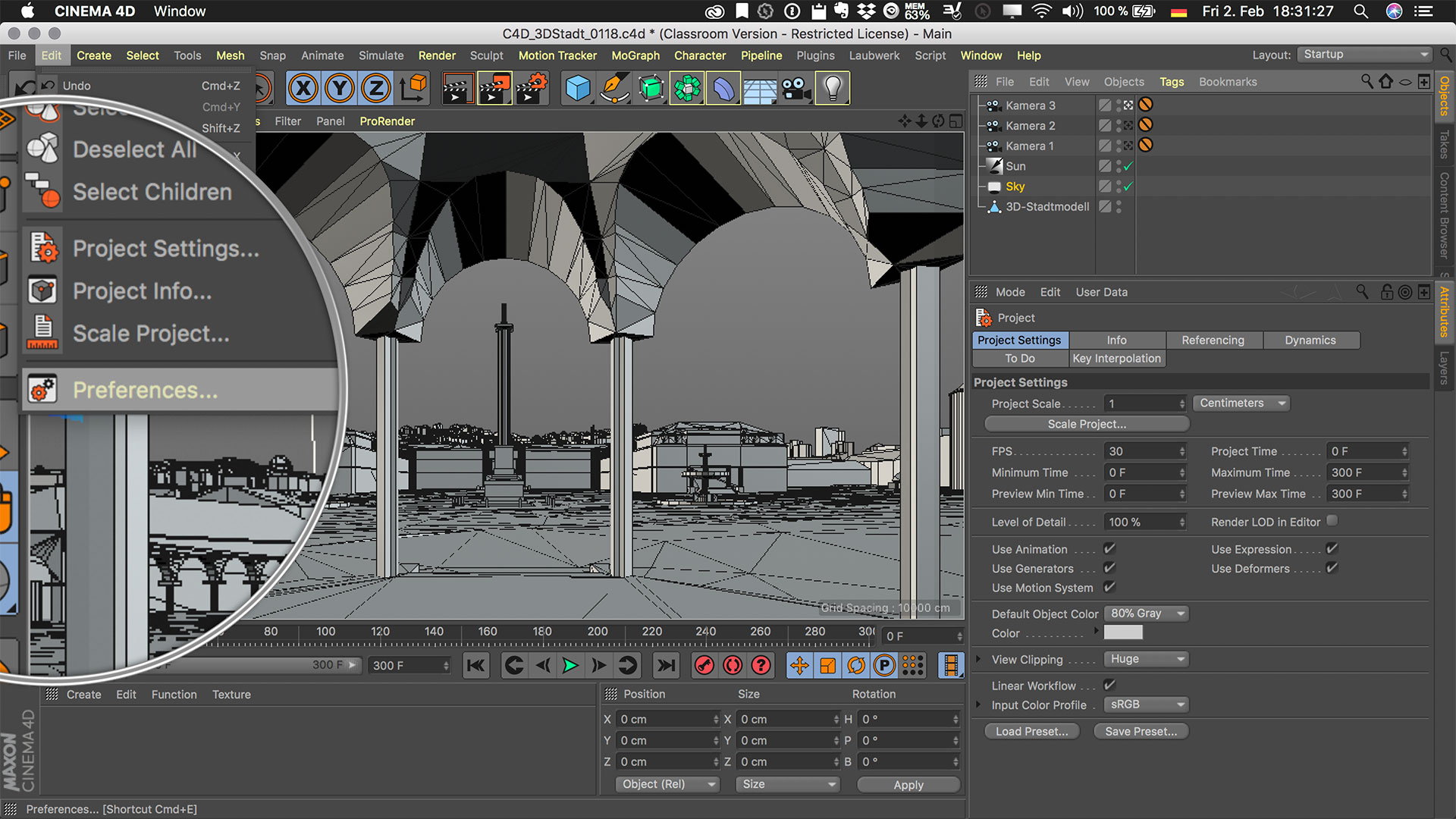 Cinema4D 3D-Stadtmodell Preferences Voreinstellungen Edit Bearbeiten Menü