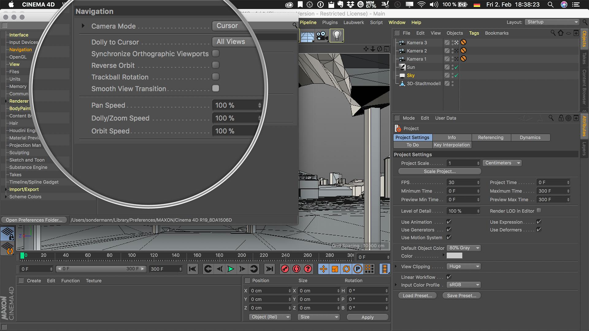 Cinema4D 3D-Stadtmodell Preferences Voreinstellungen Navigation Smooth View Transition Fließende Ansichtsänderung
